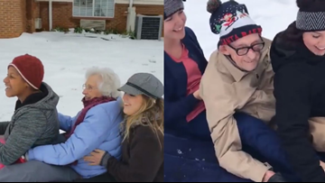 Senior citizens in NC enjoy a fun snow day