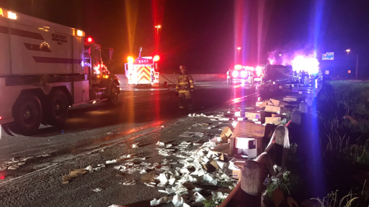 Truck carrying toilet paper catches fire, shuts down lanes of I-20 in Dallas