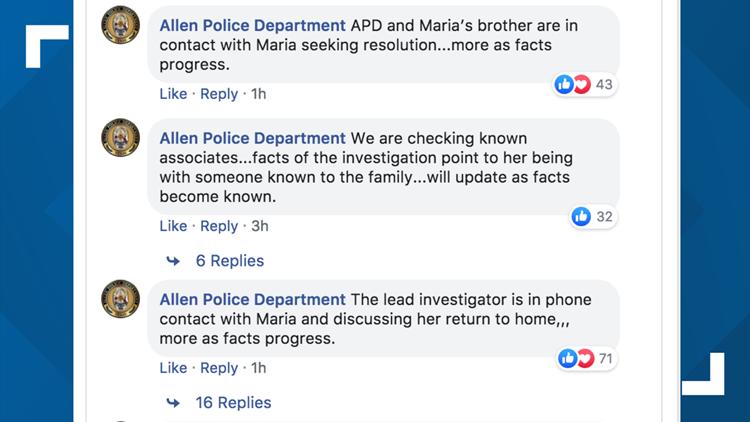 Allen Police Department Facebook post