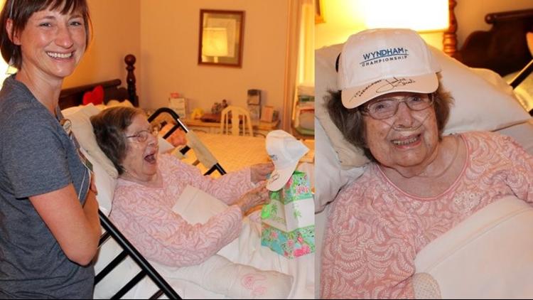 100-year-old hospice patient gets surprise from her favorite golfer Jordan Spieth during Wyndham Championship